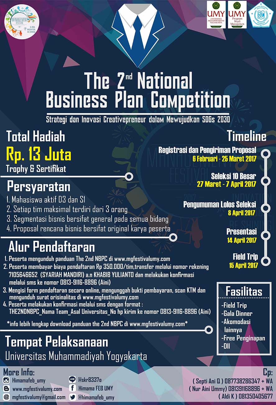 National Business Plan Competition 14 – 15 April 2017
